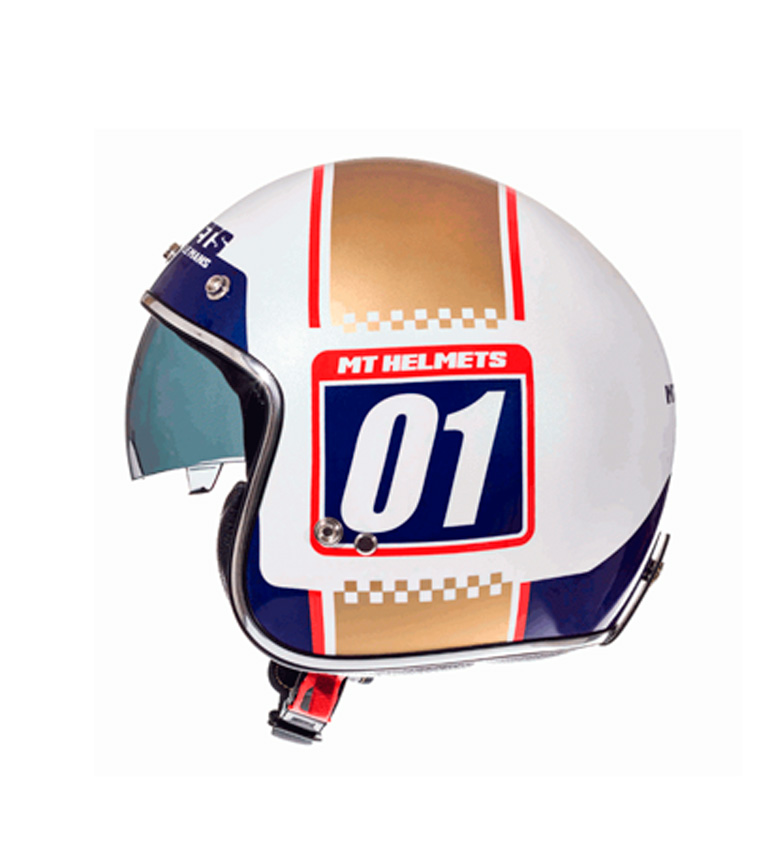Comprar MT Helmets MT Le Mans capacete jet SV numberplate pearl white, ouro