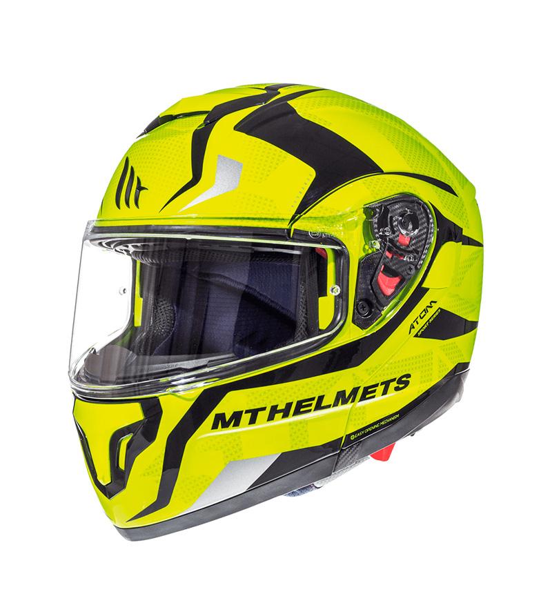 Comprar MT Helmets Flume amarelo do capacete modular F1 Divergence F1 do átomo de MT