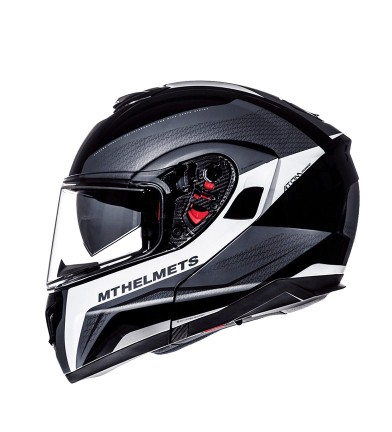 Comprar MT Helmets Capacete MT Atom SV Tarmac modular mate preto, branco brilhante