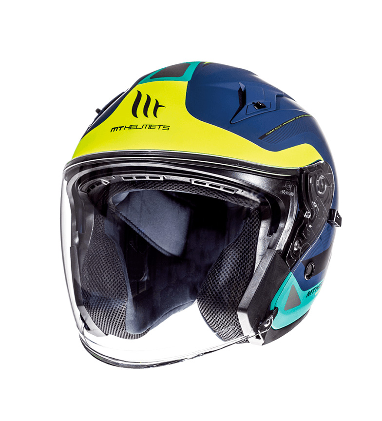 Comprar MT Helmets Jet helmet MT Avenue SV Crossroad blue, yellow fluor, matte green