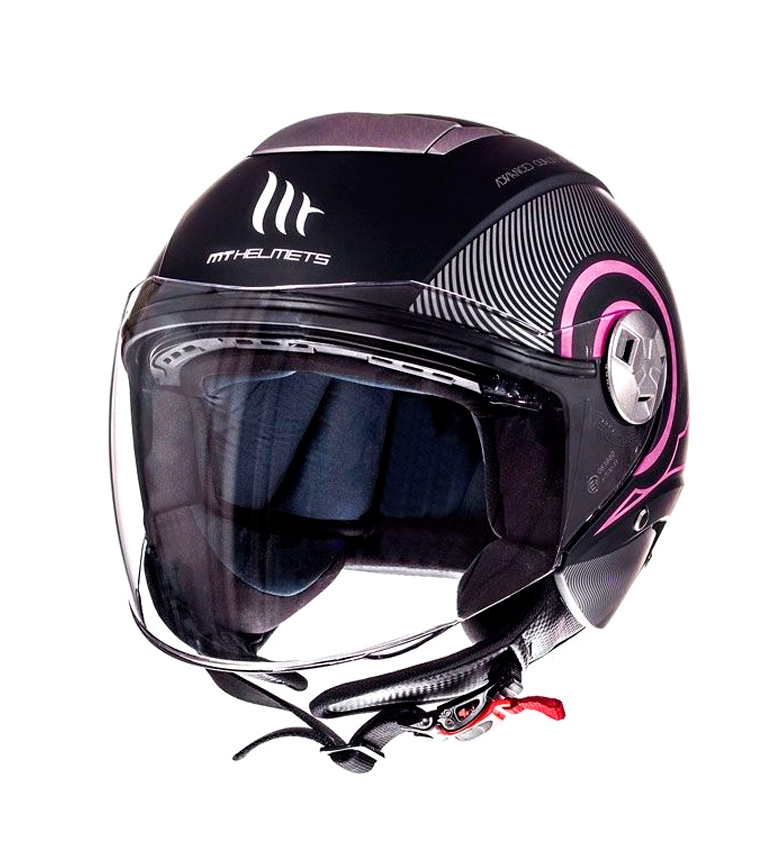 Comprar MT Helmets Casco jet MT City Eleven SV Tron negro mate, fucsia