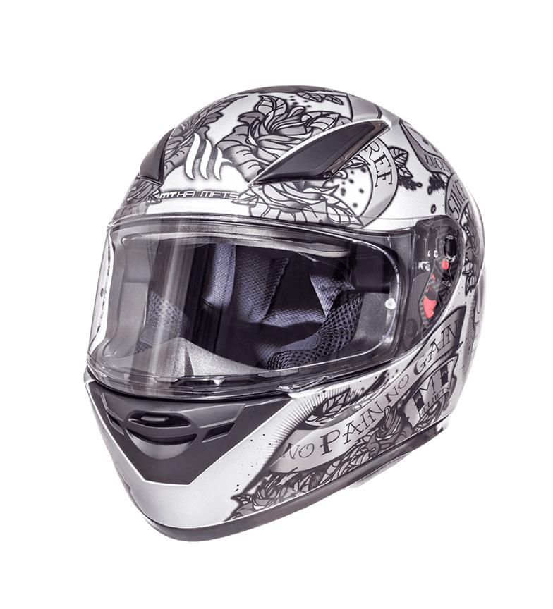 Comprar MT Helmets MT Revenge casco nero Skull & Rose d'argento, antracite