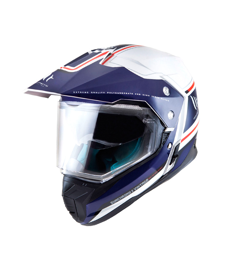Comprar MT Helmets Casco off road MT Synchrony Duo Sport Vintage blanco perla, azul, rojo