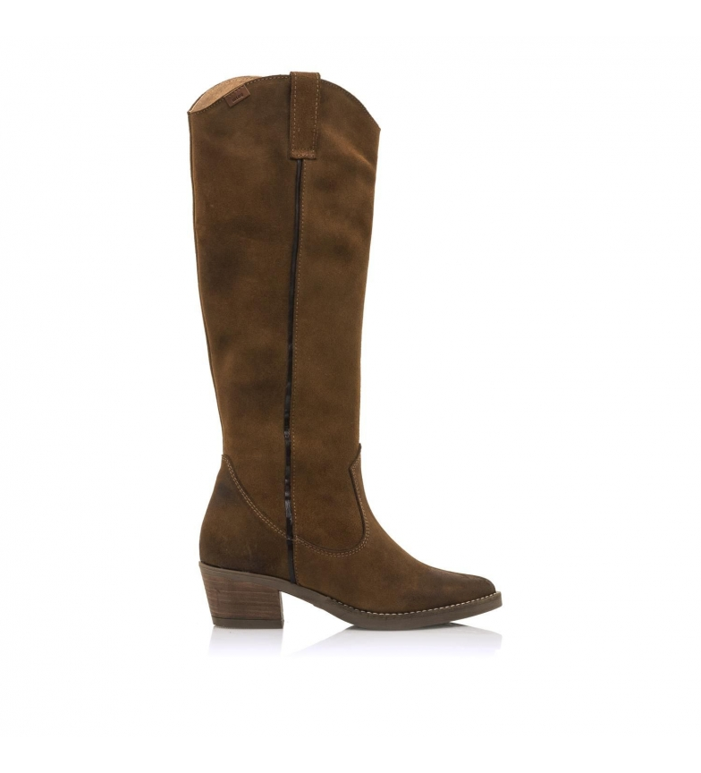 Mustang Botas de piel Cowboy Teomarrón -Altura tacón 5 cm-