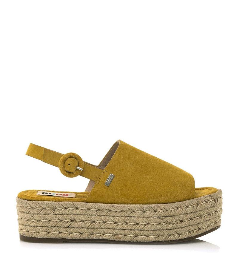 Comprar Mustang Mustard Tess leather sandals - Platform height: 5 cm
