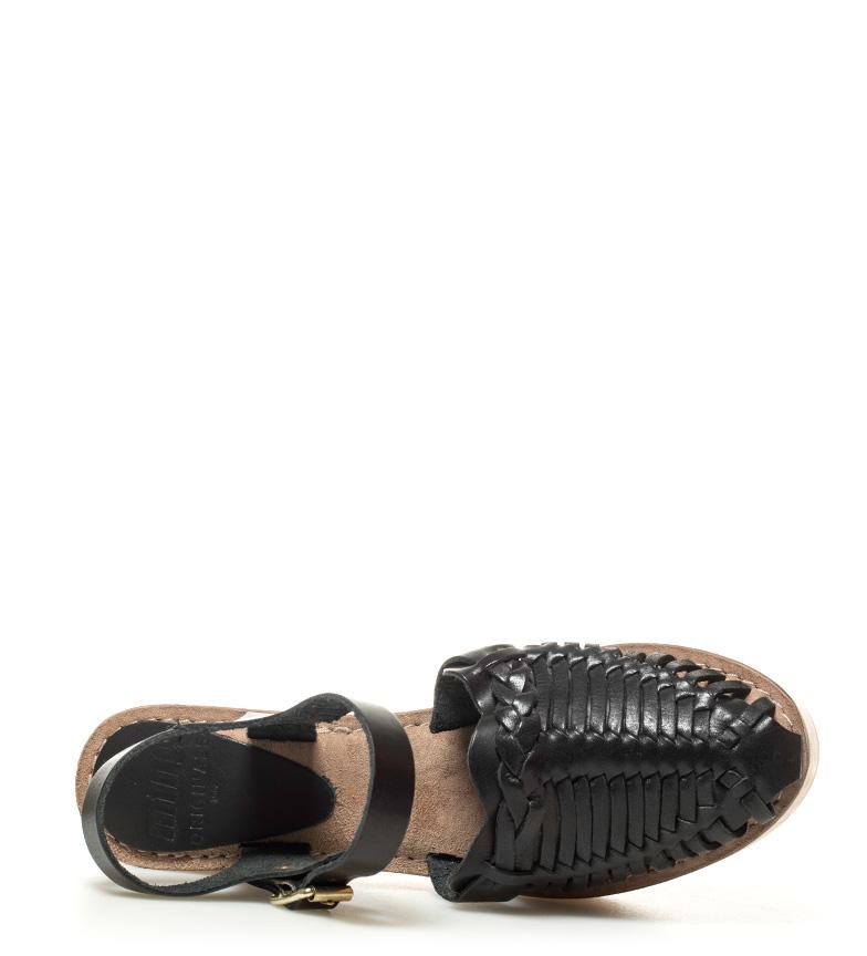 8 5cm Abbey Altura de tacón negro Sandalias Mustang piel qzw0n7