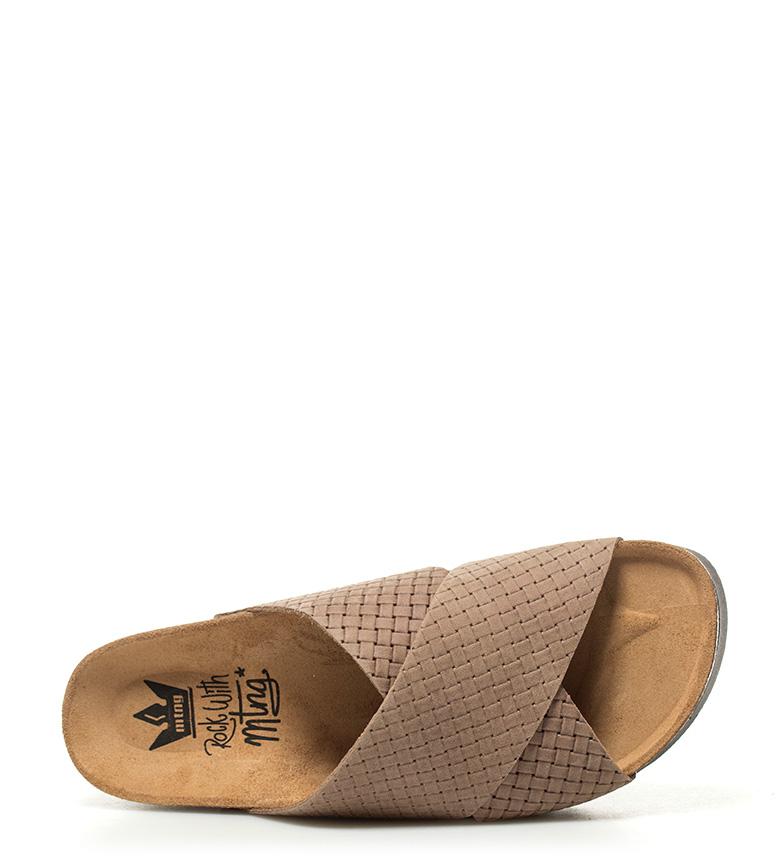 Mustang Sandalias de piel Kiara marrón Altura plataforma: 4,5cm