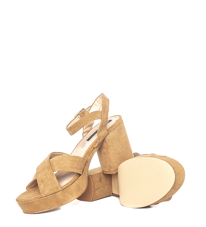 Mustang-Sandali-Lita-marrone-Altezza-tacco-9cm-Donna-Rosa-Tessuto-8-a-10cm miniatura 5