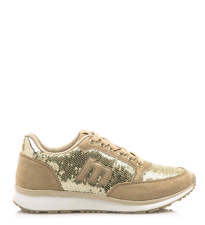 Beige Mustang Ania Plat Femme Tissu Chaussures Lacets Synthétique nwvN8m0