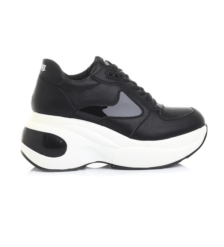 Comprar MTNG Black Bevolt leather slippers - wedge platform height: 8cm