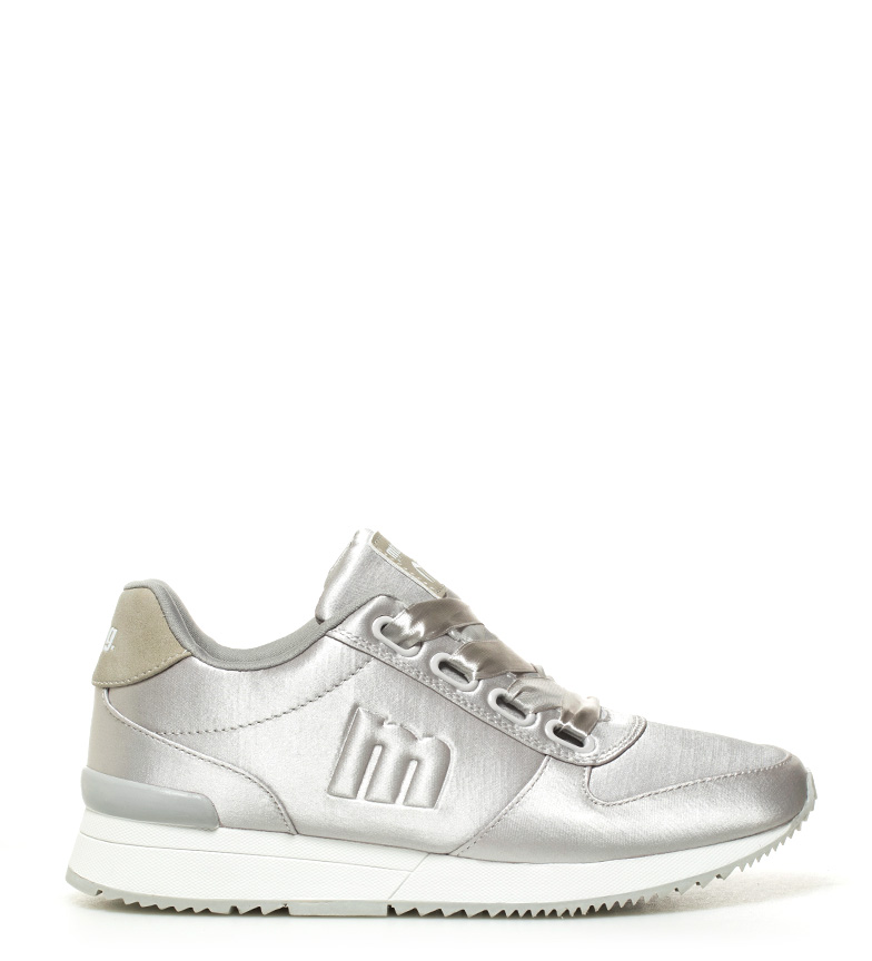 6b5161f7f60 Mustang - Zapatillas Stela gris Mujer chica Plata Plano Cordones Casual.  Mustang