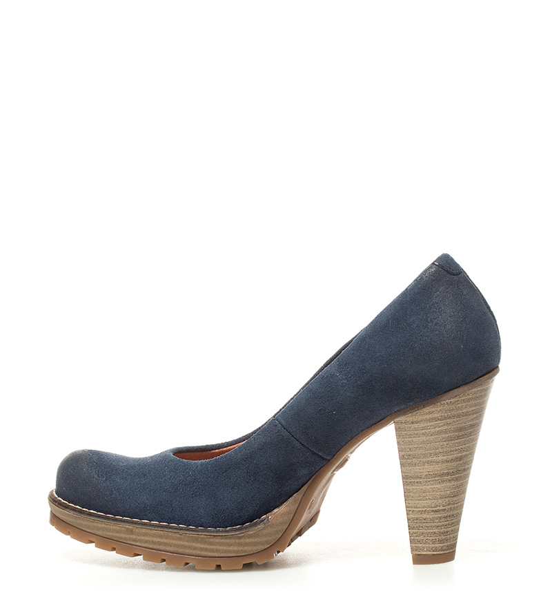 de tacón Zapatos azul 10cm de piel Laila Mustang Zapatos Altura Mustang xaqq5UIz
