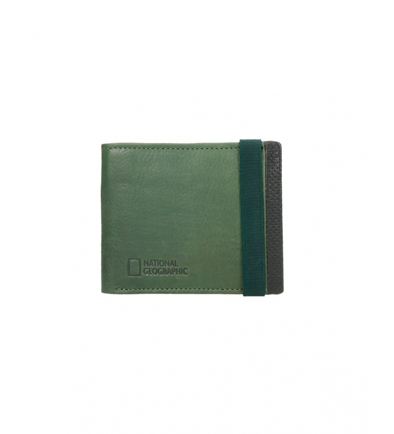 Comprar National Geographic Volcano leather wallet black, green -1,5x11x9cm-