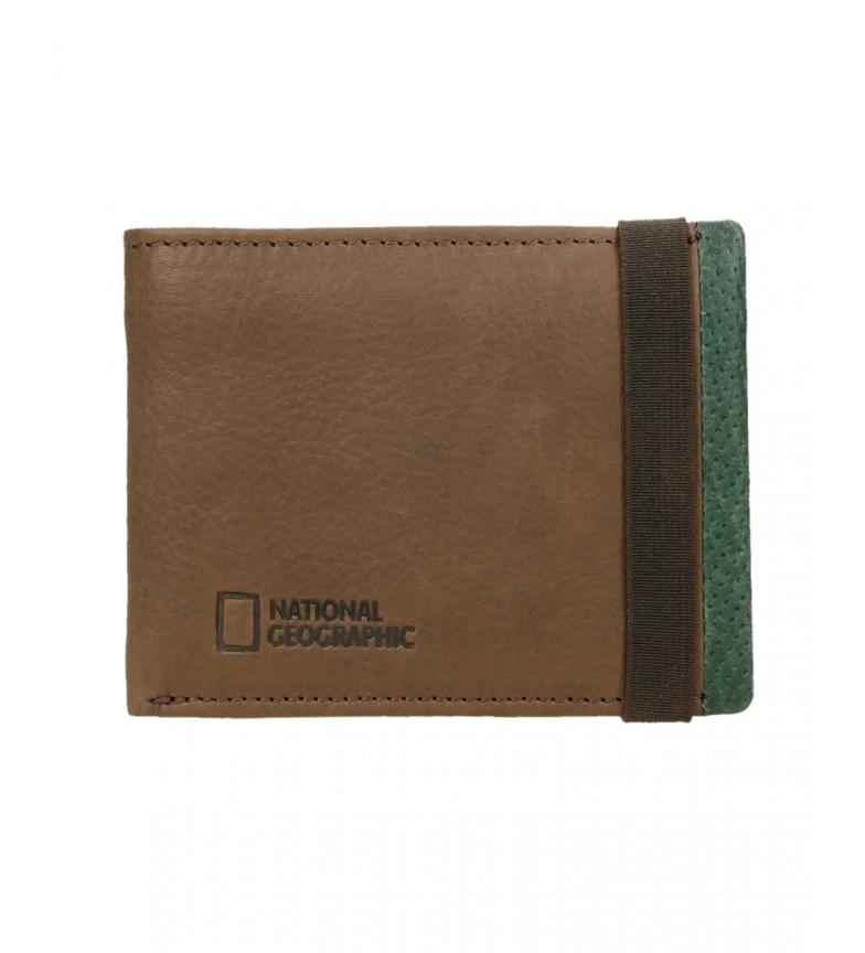 Comprar National Geographic Billetero de piel Volcano marrón, verde -1,5x11x9cm-