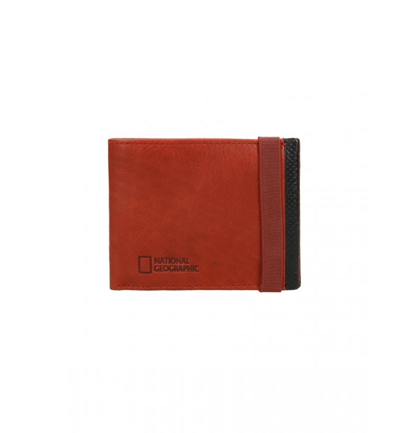 Comprar National Geographic Billetero de piel Volcano rojo, negro -1,5x11x9cm-
