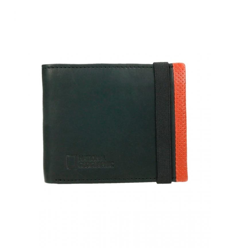 Comprar National Geographic Carteira de couro vulcânico preta, laranja -1,5x11x9cm-