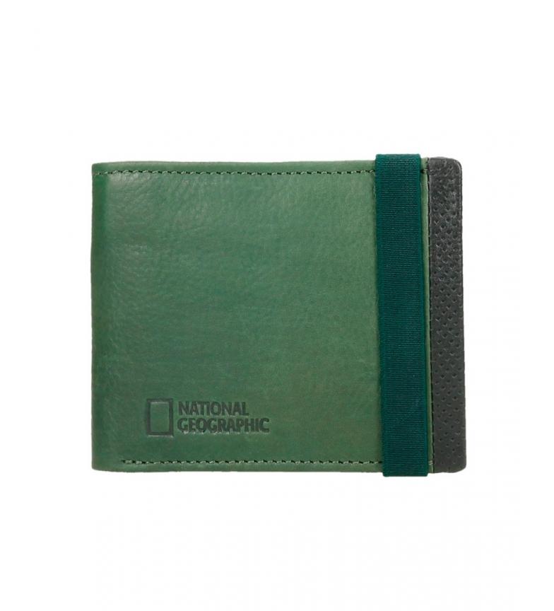 Comprar National Geographic Portefeuille en cuir Volvano noir, vert -2x11x9cm-