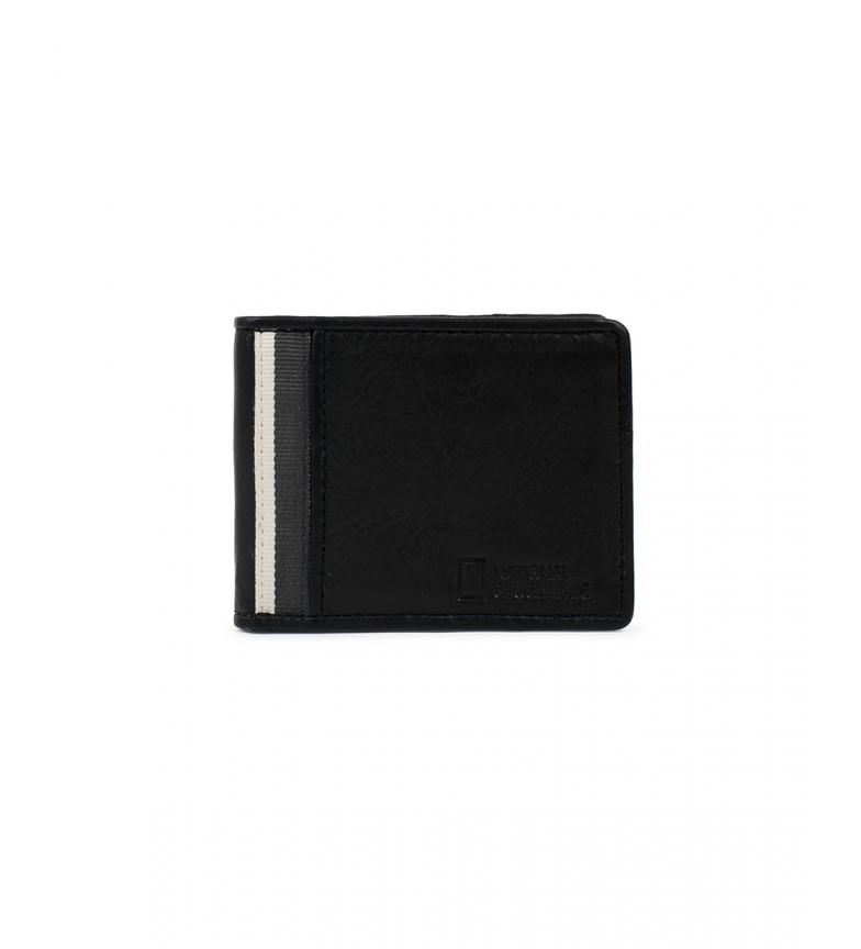National Geographic Billetero de piel Wind negro, gris -2x10,5x8cm-