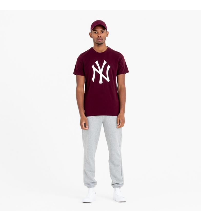 New Era Camiseta da Equipe Yankees de Nova York com o Logo da camiseta maroon