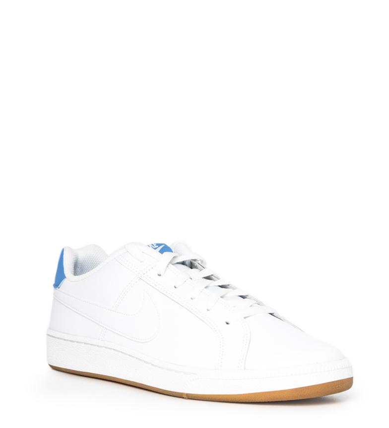 Nike-Baskets-Court-Royale-Homme-Blanc-Tissu-Synthetique-Cuir-Plat-Lacets miniature 4