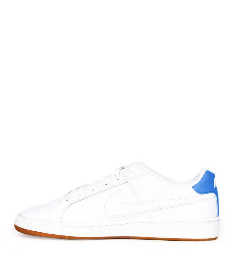 Nike-Baskets-Court-Royale-Homme-Blanc-Tissu-Synthetique-Cuir-Plat-Lacets miniature 7