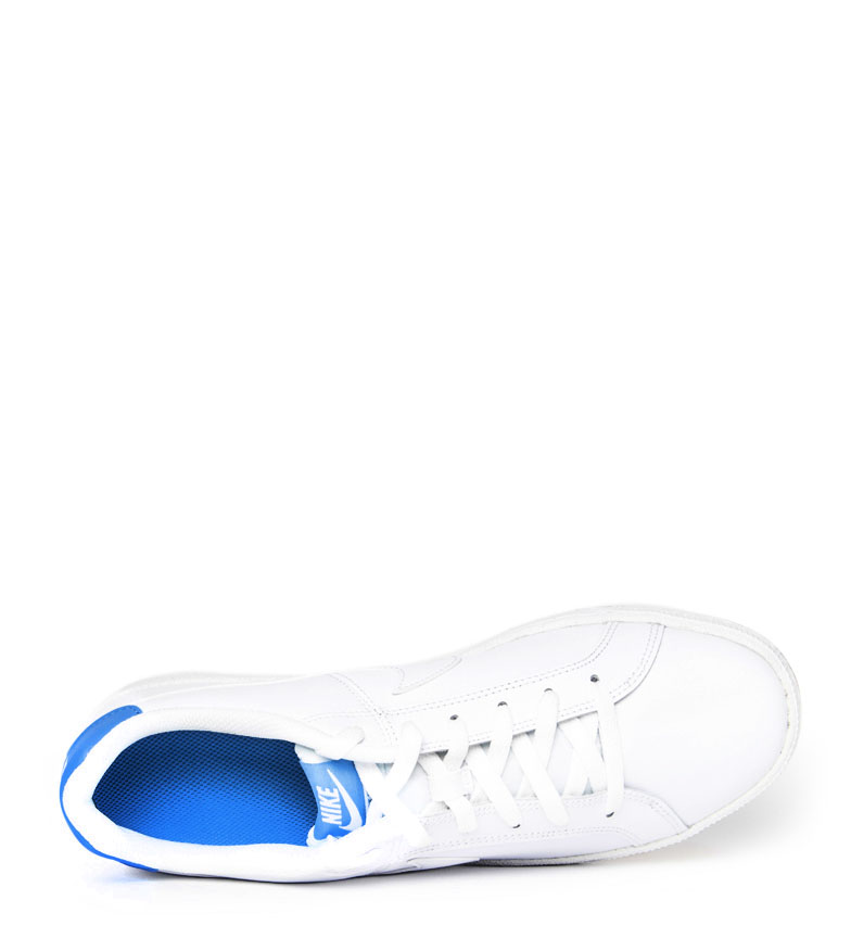 Nike-Baskets-Court-Royale-Homme-Blanc-Tissu-Synthetique-Cuir-Plat-Lacets miniature 8