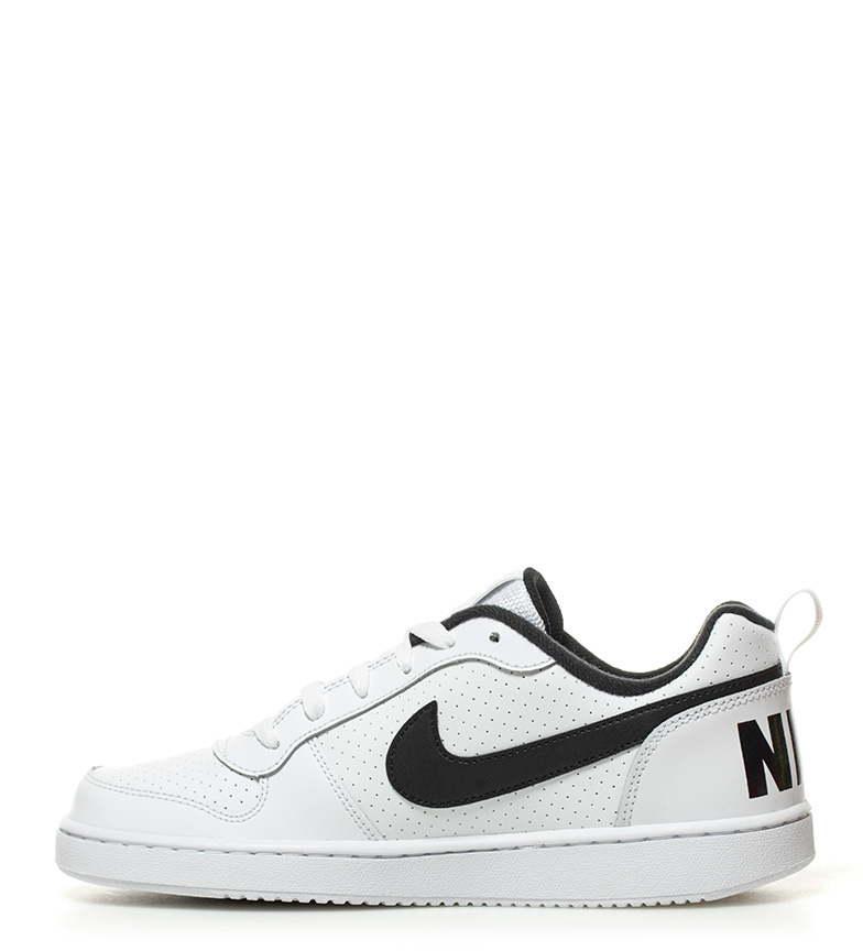 piel de Court Borough Nike blanco Zapatillas negro Low qE5Sx8w