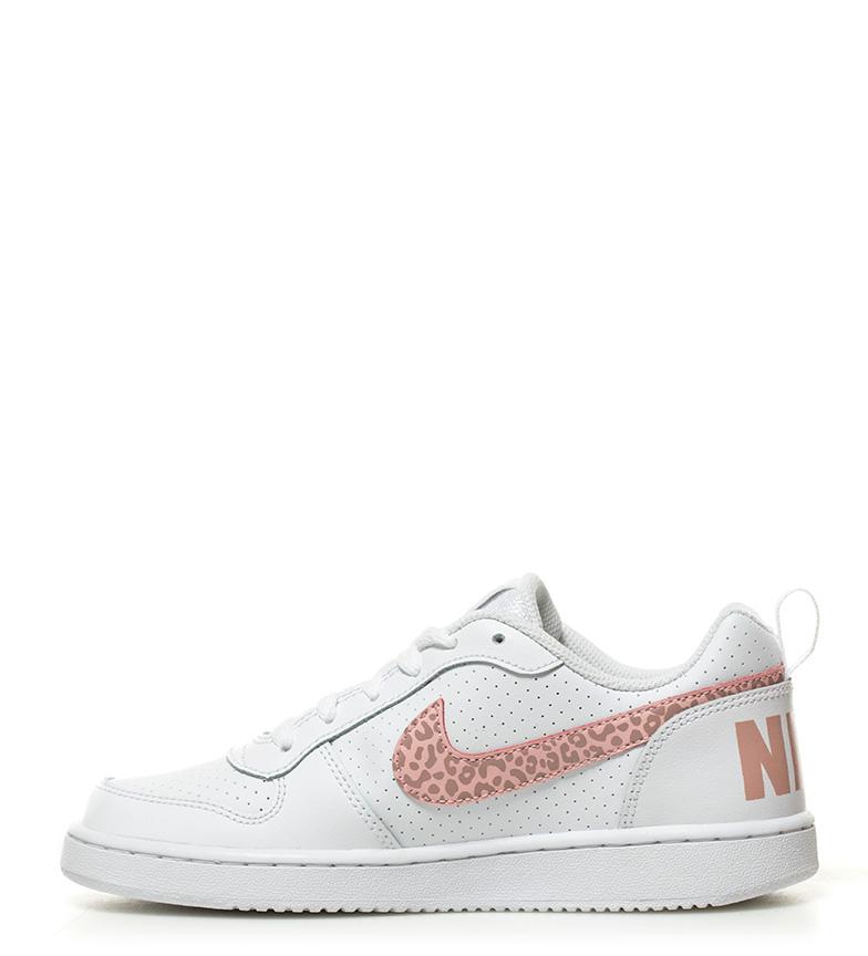 blanco piel Nike de rosa animal Court Borough Low Zapatillas print Oawaqv