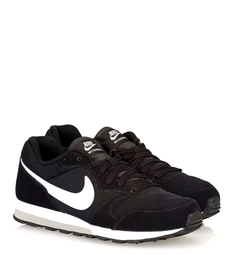 Nike-Leather-Sneakers-MD-Runner-2-GS-Femme-Cuir-Synthetique-Tissu-Bleu-Noir miniature 4