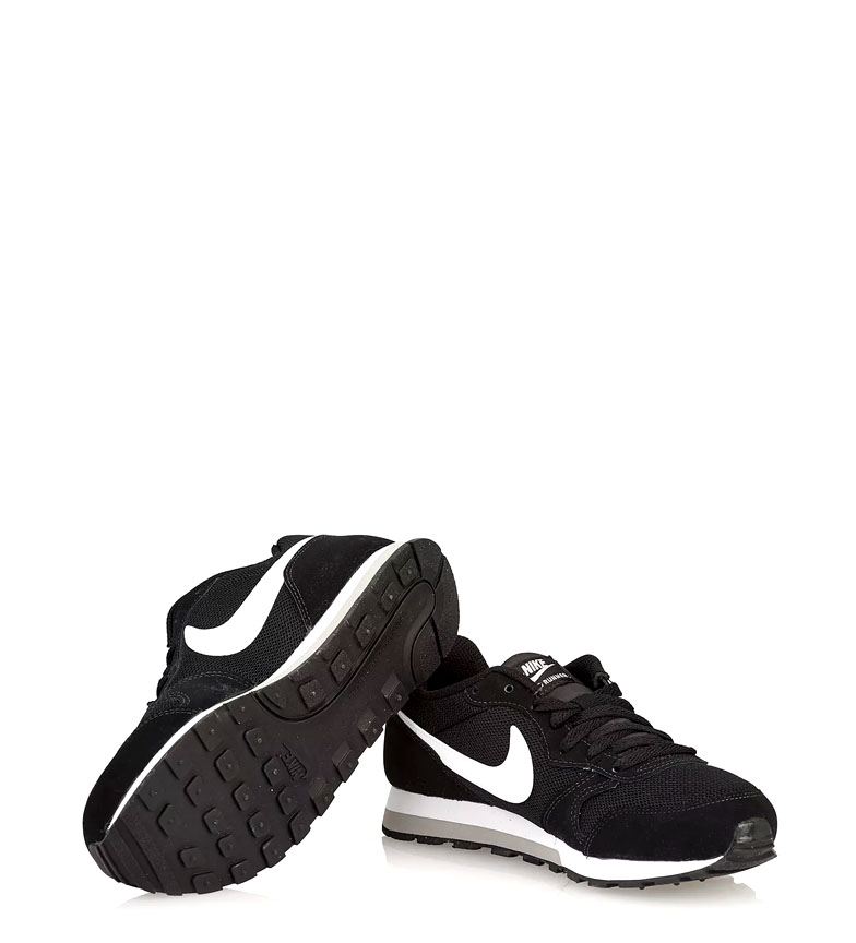 Nike-Leather-Sneakers-MD-Runner-2-GS-Femme-Cuir-Synthetique-Tissu-Bleu-Noir miniature 6