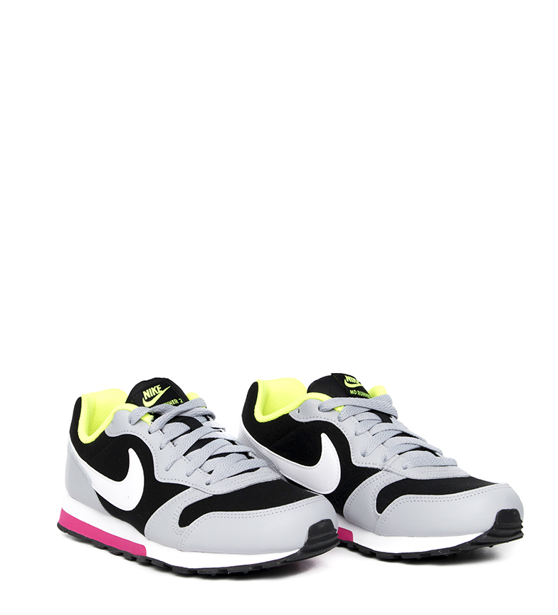 Nike-Leather-Sneakers-MD-Runner-2-GS-Femme-Cuir-Synthetique-Tissu-Bleu-Noir miniature 23