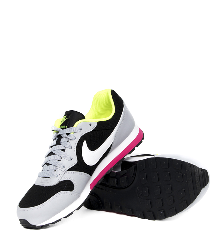 Nike-Leather-Sneakers-MD-Runner-2-GS-Femme-Cuir-Synthetique-Tissu-Bleu-Noir miniature 25