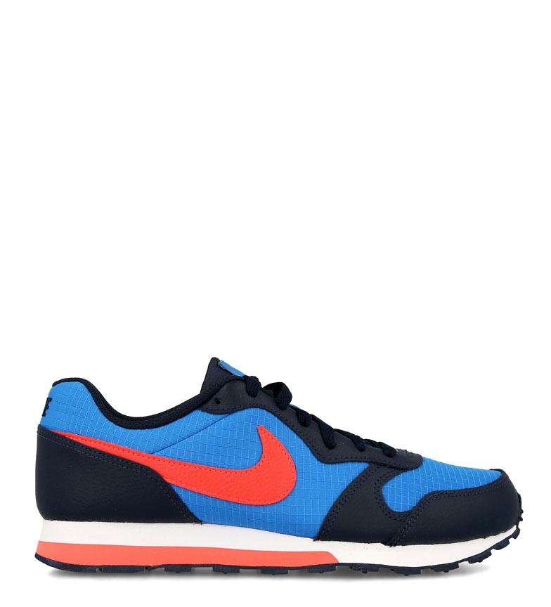 Nike-Leather-Sneakers-MD-Runner-2-GS-Femme-Cuir-Synthetique-Tissu-Bleu-Noir miniature 8