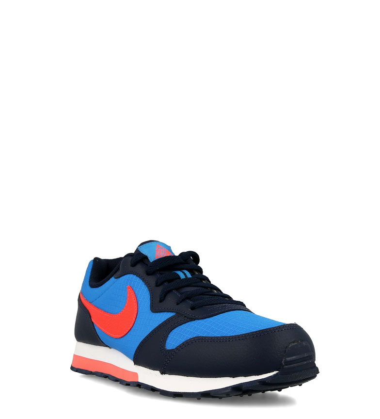 Nike-Leather-Sneakers-MD-Runner-2-GS-Femme-Cuir-Synthetique-Tissu-Bleu-Noir miniature 9