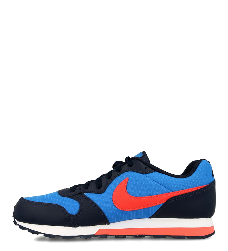 Nike-Leather-Sneakers-MD-Runner-2-GS-Femme-Cuir-Synthetique-Tissu-Bleu-Noir miniature 10