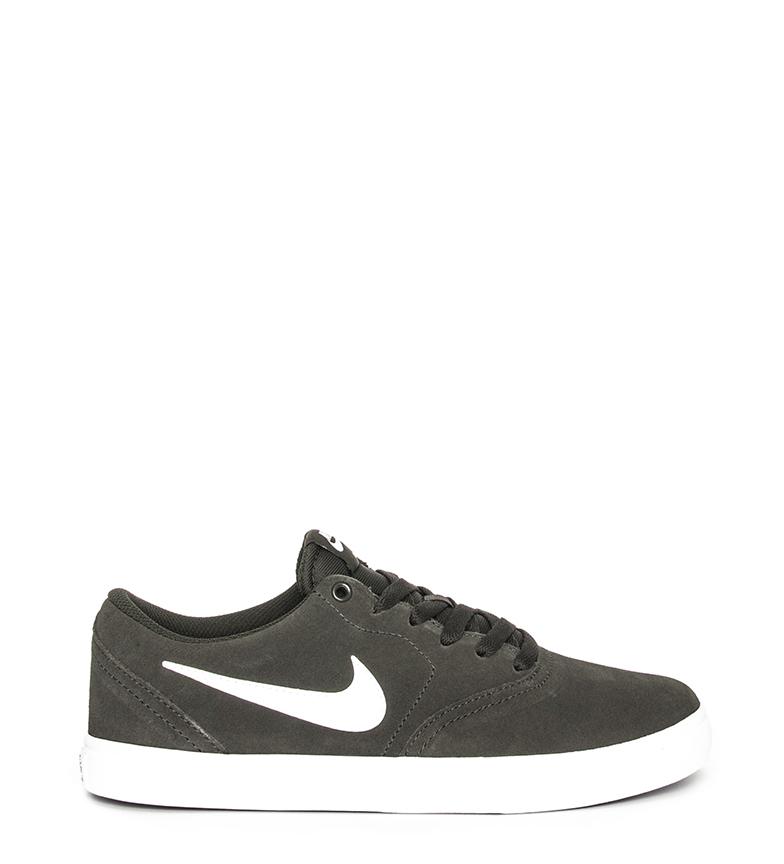 Detalles de Nike Zapatillas de piel SB Check Solar kaki Hombrechico Plano Cordones Casual