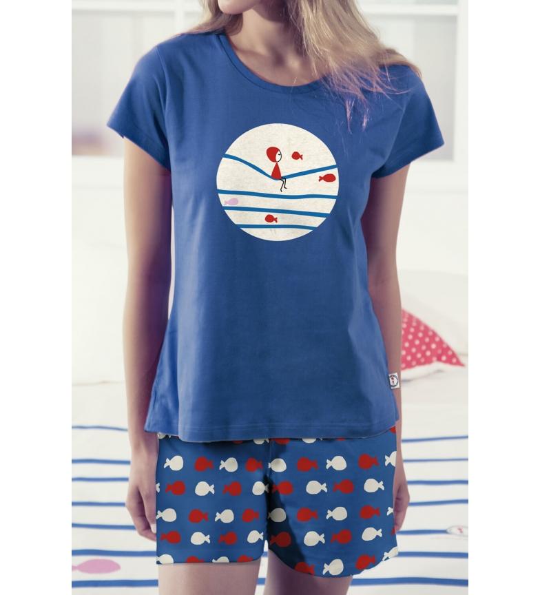 Comprar Admas Vagues et Poissons Pyjama à manches courtes Tween Bleu