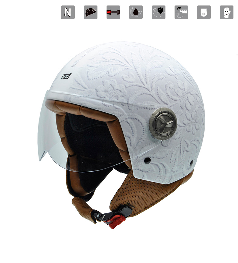 Comprar Nzi Casque ouvert Zeta Brocade Blanc blanc