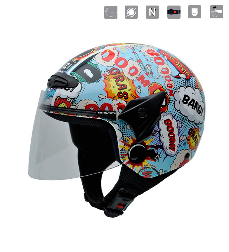 Comprar Nzi Casco jet junior Helix II JR Boom multicolor