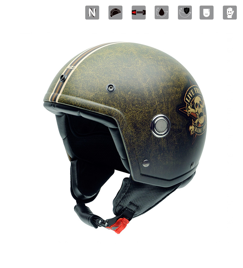 Comprar Nzi Casco jet Tonup Graphics Ride Freer verde