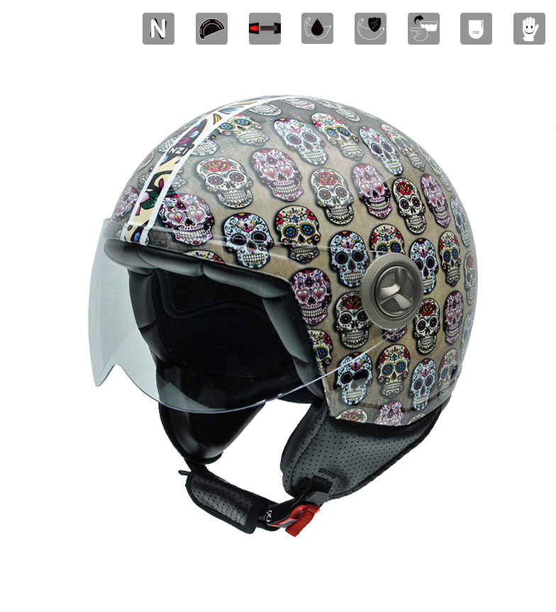 Comprar Nzi Casco jet Zeta Graphics Mexican Skulls multicolor