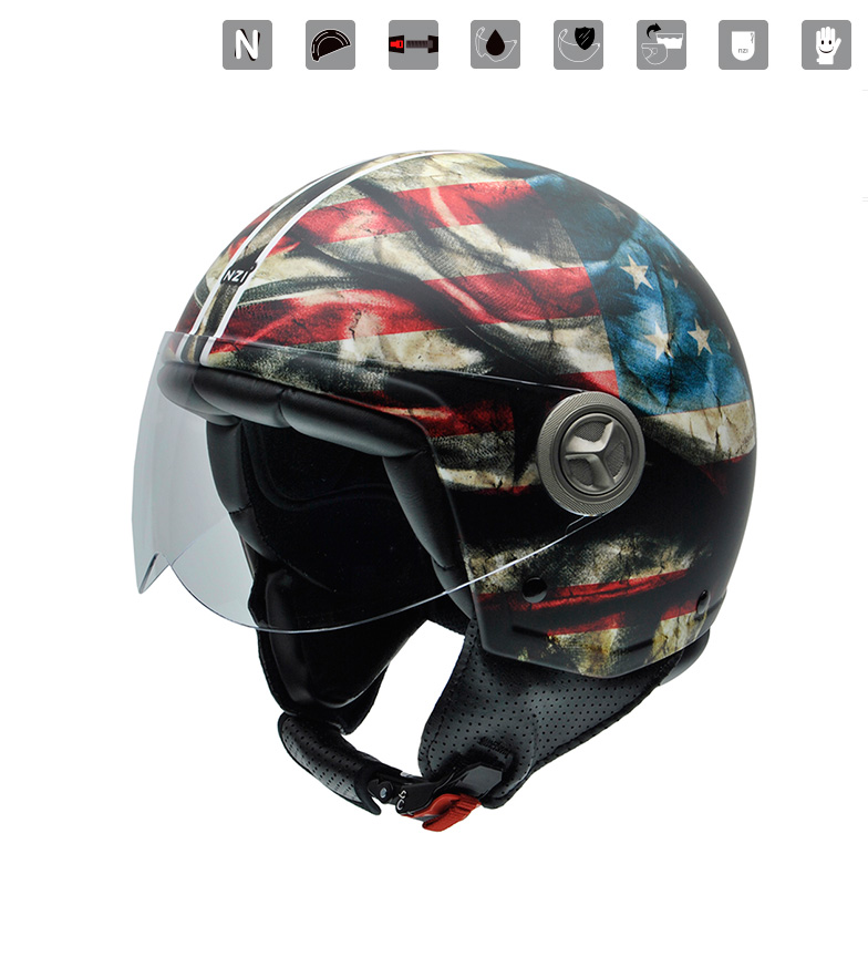 Comprar Nzi Casco jet Zeta Graphics Peace multicolor