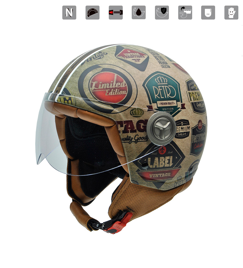 Comprar Nzi Casco jet Zeta Graphics Retrolabels multicolor