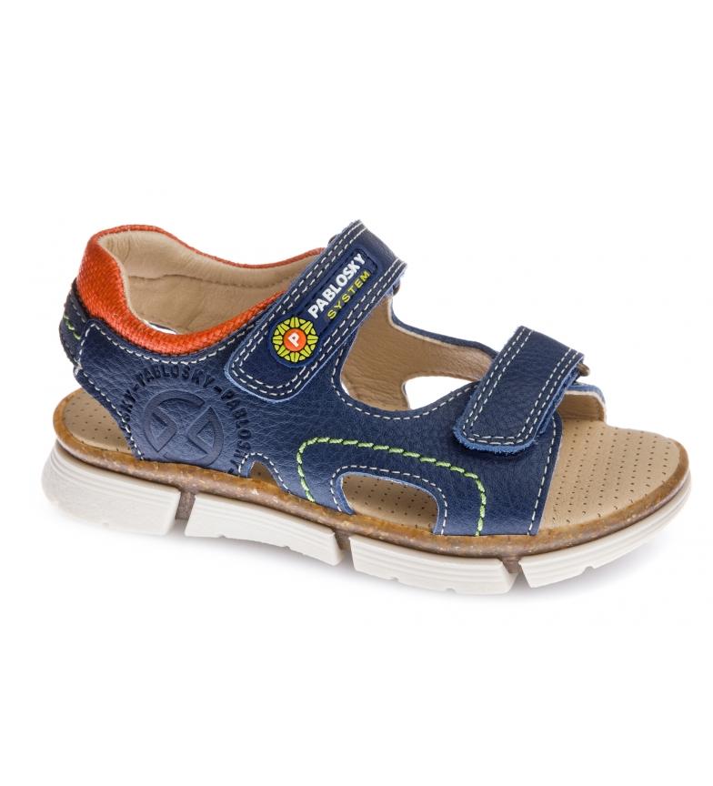 Pablosky Sandales en cuir bleu marine Japon 500525