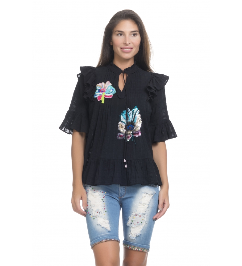 Comprar Peace and Love Black embroidery blouse