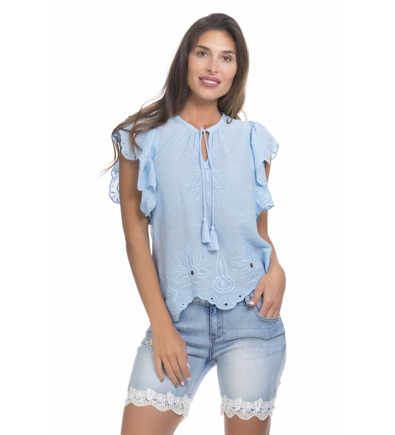 Comprar Peace and Love Blue Embroidered Blouse