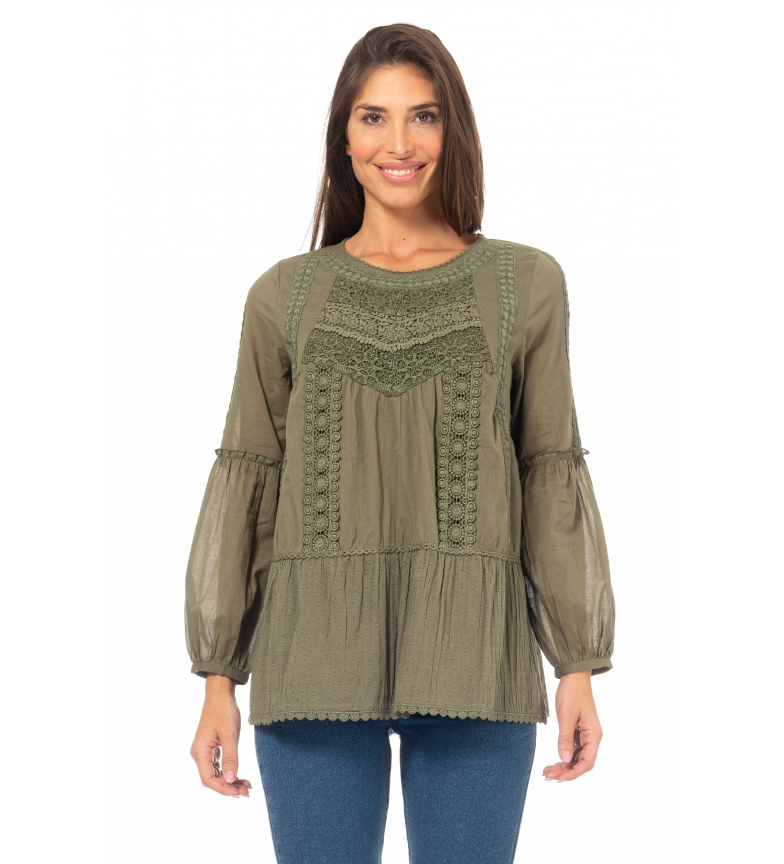 Comprar Peace and Love Lisa blouse Khaki lace up