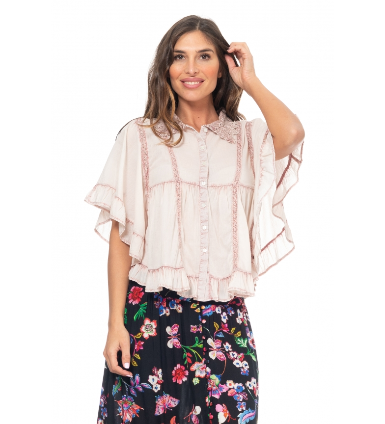 Comprar Peace and Love Pink Embroidered Lisa Blouse