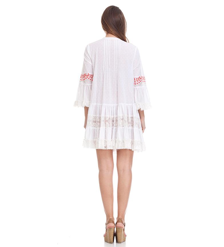 Peace and Love Vestido Caicos blanco,rojo