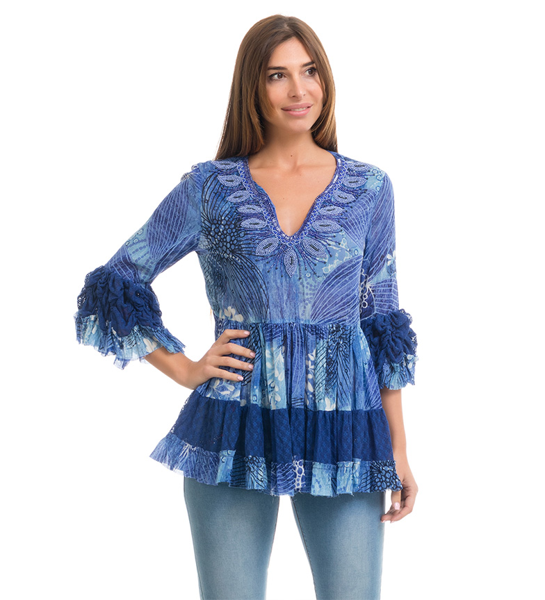 Comprar Peace and Love Blusa Mikonos azul